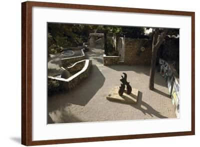 High Angle View of a Statue in the Garden--Framed Photographic Print