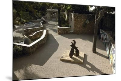 High Angle View of a Statue in the Garden--Mounted Photographic Print