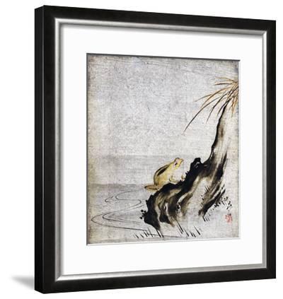 Frog in Pond--Framed Giclee Print
