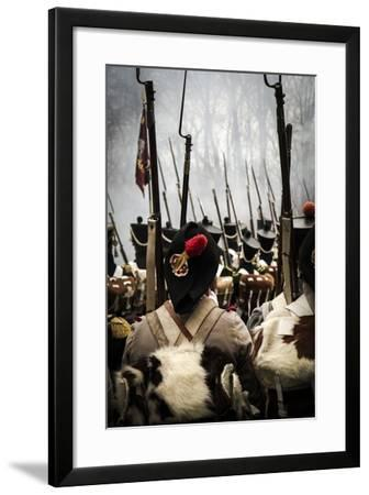 Historical Reenactment: Napoleon's Troops Marching Towards Austerlitz--Framed Photographic Print