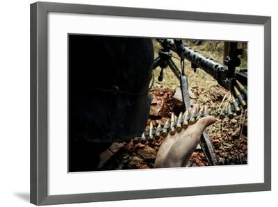 Historical Reenactment: Wehrmacht Soldier with Mg34 Machine Gun (Maschinengewehr 34) and Belt Loade--Framed Photographic Print