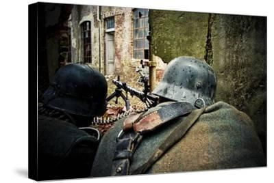 Historical Reenactment: Wehrmacht Soldiers with Mg34 Machine Guns (Maschinengewehr 34) in Factory i--Stretched Canvas Print