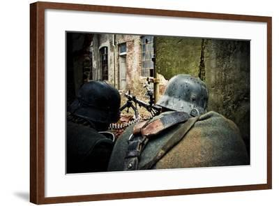 Historical Reenactment: Wehrmacht Soldiers with Mg34 Machine Guns (Maschinengewehr 34) in Factory i--Framed Photographic Print