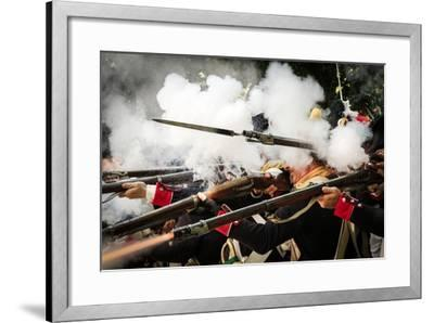 Historical Reenactment: French Front-Line Infantry Firing on Enemy--Framed Photographic Print