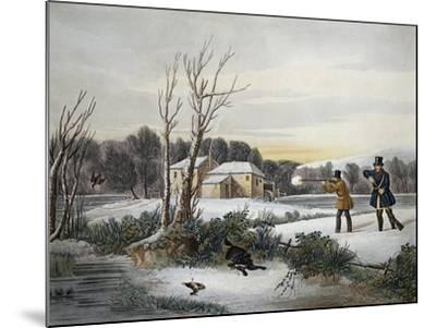Hunting Scene in January--Mounted Giclee Print