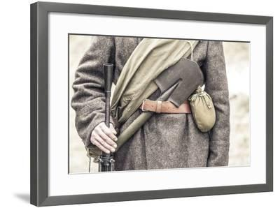 Historical Reenactment: Red Army Soldier with His Equipment--Framed Photographic Print