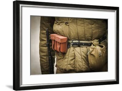 Historical Reenactment: Red Army Soldier with Rifle--Framed Photographic Print