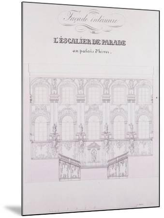 Interior Frontage of the Parade Stairs at the Winter Palace; Facade Interieure De L'Escalier De Par--Mounted Giclee Print