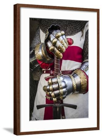 Historical Reenactment: Crusader Knight with Sword and Gauntlets with Jointed Iron Protective Cover--Framed Photographic Print