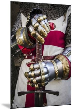 Historical Reenactment: Crusader Knight with Sword and Gauntlets with Jointed Iron Protective Cover--Mounted Photographic Print