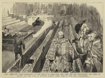 Lord Tennyson's First Appearance in the House of Lords--Framed Giclee Print