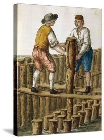 Laying Foundations of Venetian Lagoon by Jan Van Grevenbroeck (1731-1807) from Dress of Venetians M--Stretched Canvas Print
