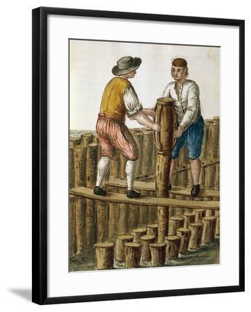 Laying Foundations of Venetian Lagoon by Jan Van Grevenbroeck (1731-1807) from Dress of Venetians M--Framed Giclee Print