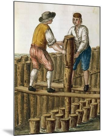 Laying Foundations of Venetian Lagoon by Jan Van Grevenbroeck (1731-1807) from Dress of Venetians M--Mounted Giclee Print