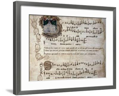 Liber Capella (Song Book) with Music Score of Mass for Four Voices by Heinrich Isaac (1445-1517)--Framed Giclee Print