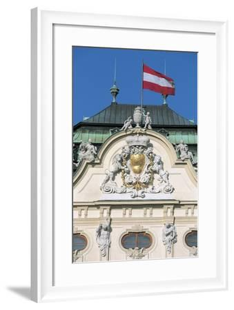 Low Angle View of an Austrian Flag on a Palace--Framed Giclee Print