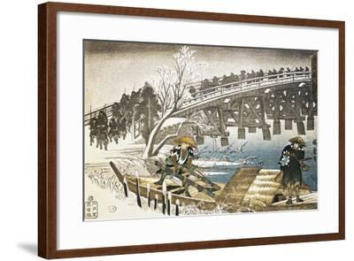 Men in Boat on River with Bridge and Snowy Landscape in Background--Framed Giclee Print