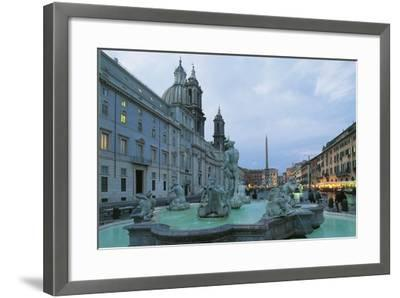 Piazza Navona with Moor Fountain--Framed Photographic Print