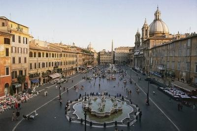 Piazza Navona with the Fountain of Neptune (Formerly Fontana Dei Calderai) in the Foreground--Framed Photographic Print