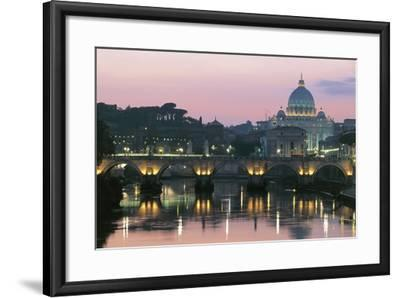 Night View of Dome of St Peter's Basilica--Framed Photographic Print