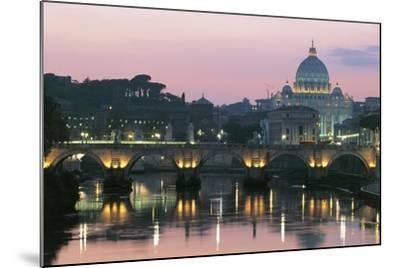 Night View of Dome of St Peter's Basilica--Mounted Photographic Print