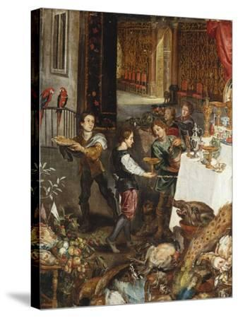 Pages at a Banquet in a Palatial Interior with a Still Life of Fruit and Game in the Foreground - a--Stretched Canvas Print
