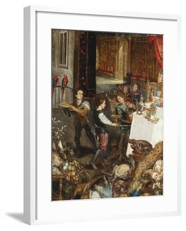 Pages at a Banquet in a Palatial Interior with a Still Life of Fruit and Game in the Foreground - a--Framed Giclee Print