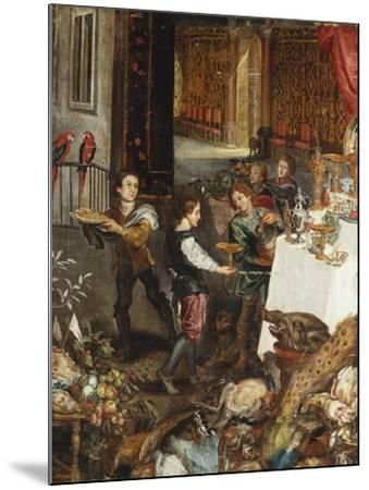Pages at a Banquet in a Palatial Interior with a Still Life of Fruit and Game in the Foreground - a--Mounted Giclee Print