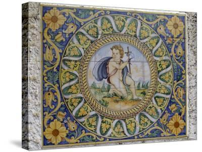 Painted Maiolica Panel Depicting Infant Jesus--Stretched Canvas Print
