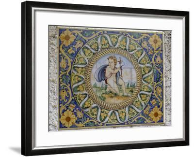 Painted Maiolica Panel Depicting Infant Jesus--Framed Giclee Print