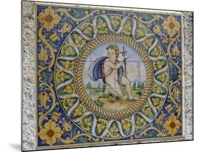 Painted Maiolica Panel Depicting Infant Jesus--Mounted Giclee Print