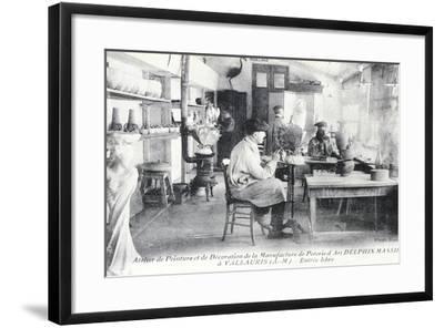 Postcard Depicting Artisans at Work Making Delphin Massier Art Pottery in Vallauris--Framed Giclee Print