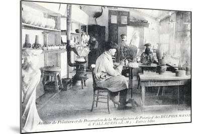 Postcard Depicting Artisans at Work Making Delphin Massier Art Pottery in Vallauris--Mounted Giclee Print