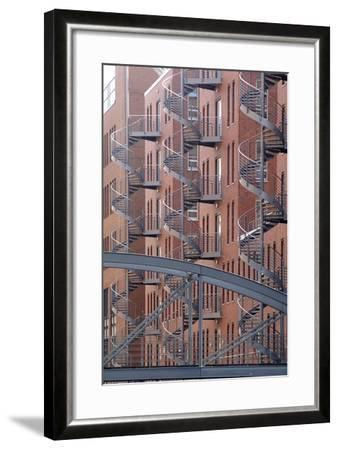 Spiral Staircases on Facades of Some Former Warehouses Destined for Repurposing--Framed Photographic Print