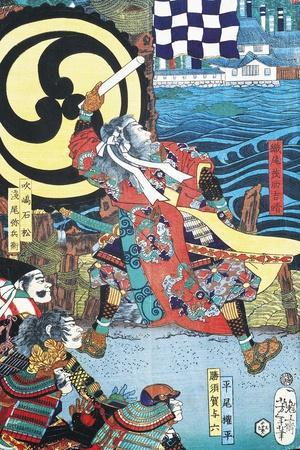 Samurai Fighting in Front of City on Water--Stretched Canvas Print