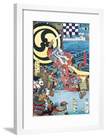 Samurai Fighting in Front of City on Water--Framed Giclee Print
