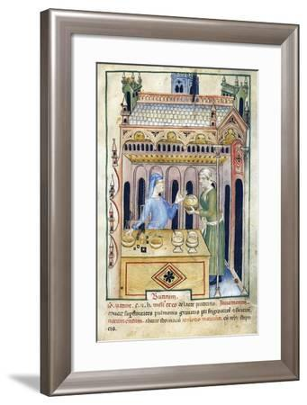 Shop with Butter Bread and Two Women from Tacuinum Sanitatis--Framed Giclee Print