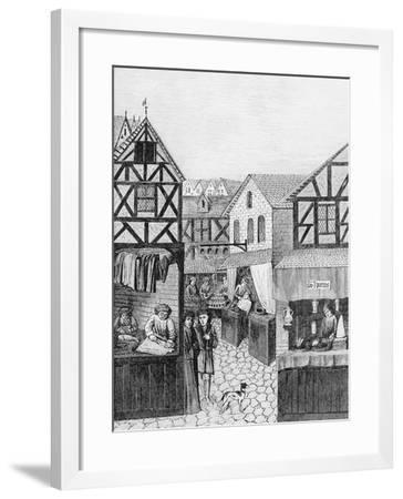 Shops in an Apothecary's Street: Barber--Framed Giclee Print