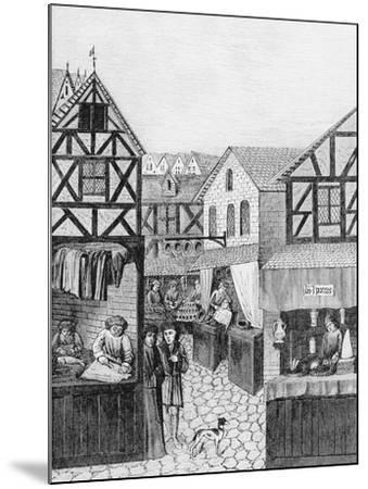 Shops in an Apothecary's Street: Barber--Mounted Giclee Print