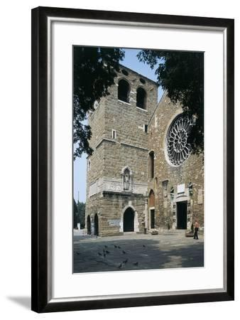 Side Profile of a Senior Man Walking in Front of a Basilica--Framed Photographic Print