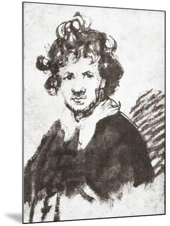 Self Portrait of Rembrandt Harmenszoon Van Rijn--Mounted Giclee Print