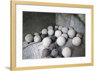 Stone and Iron Cannonballs--Framed Photographic Print