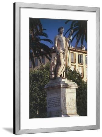 Statue on a Pedestal in Front of a Building--Framed Giclee Print