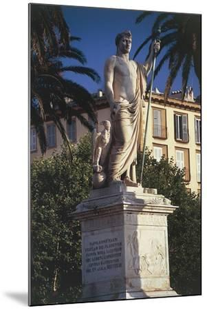 Statue on a Pedestal in Front of a Building--Mounted Giclee Print