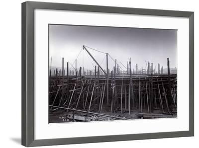 The Ice-Breaking Train Ferry Steamer 'Ss Baikal' in Frame During Construction by Sir W.G. Armstrong--Framed Photographic Print