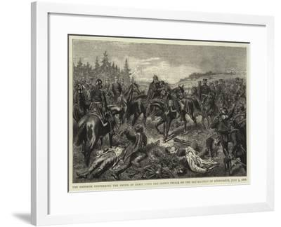 The Emperor Conferring the Order of Merit Upon the Crown Prince on the Battle-Field of Koniggratz--Framed Giclee Print