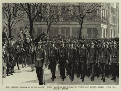 The Emperor William II (When Crown Prince) Saluting His Guards in Unter Den Linden--Framed Giclee Print