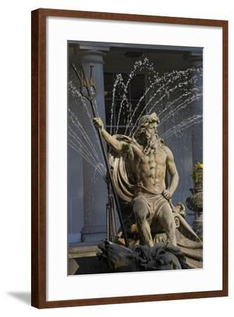 The Neptune Fountain with the Regency Style Municipal Offices in the Background--Framed Photographic Print