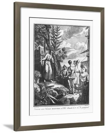 The Meeting with Braguibar on the Island of Sonante from 'The Life of Gargantua and Pantagruel'--Framed Giclee Print