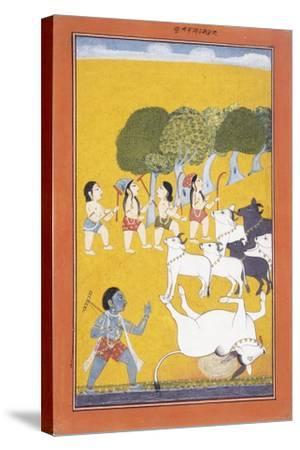The Young Krishna Kills the Demon Vatsasura--Stretched Canvas Print